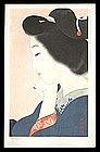 Shin Hanga Beauty Japanese Woodblock - Tipsy
