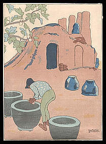 Early Taisho Woodblock: Pots and Kiln by Goro