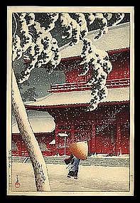 Early Edition Hasui Woodblock: Zozoji in Snow