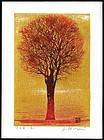 Beautiful Joichi Hoshi Woodblock - Evening Tree (Red)