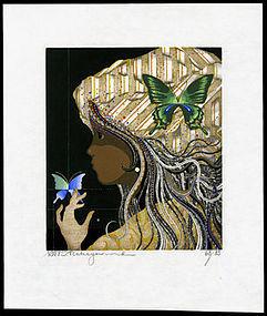 Striking Tadashi Nakayama Woodblock - Butterfly Girl