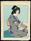 Original Woodblock Print by Jacoulet - Geisha Kiyoka