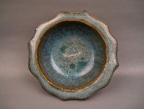 A Jin-Yuan Dynasty Jun Ware Flower Shape Dish