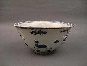 Late Ming Dynasty B/W Bowl With Ducks