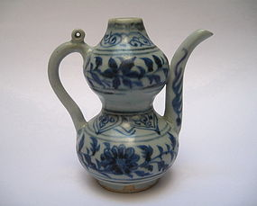 A Rare Example Of Yuan B/W  Double Gourd Ewer