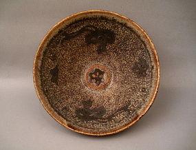 A Jizhou Paper Cut Tea Bowl With Twin Phoenix in Flight