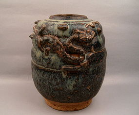Stoneware Jar With Dragon Chasing Flaming Pearl Relief