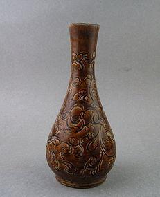 A Rare Jizhou Type Brown Glaze Bottle Vase