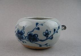 A Rare Yuan Dynasty B/W Bird Feeder With Plum Scrolls