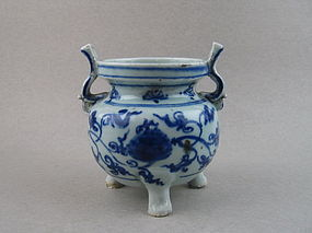 A Ming Dynasty 15th Century B/W Tripod Censer