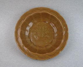 A Nice Early Ming Longquan Reddish Glaze Saucer Dish