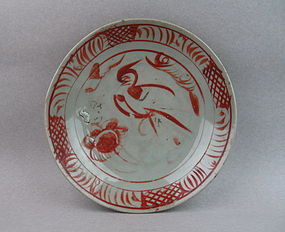 A Swatow Type Over-Glazed Red Enamel Dish