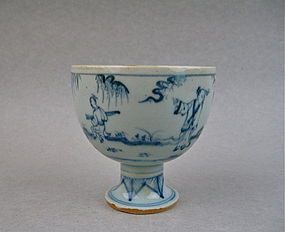 A Rare & Finely Ming Dynasty B/W Stem-Cup With Figures
