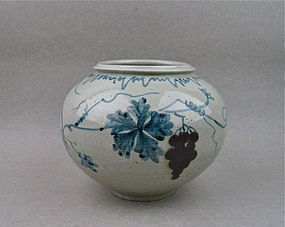 Rare Korean Underglazed Blue & Red With Grapevine Jar