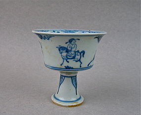 A Finely Ming Dynasty B/W Stem-Cup