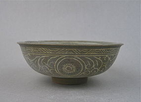 A Koryo Celadon Bowl with Inlaid Black & White