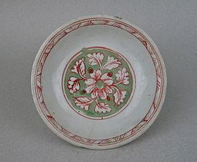 A Ming Dynasty 16th Century Polychrome Enamel Dish