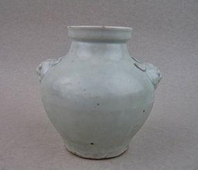 A Rare Yuan Dynasty Qingbai Jar With Lion Mask