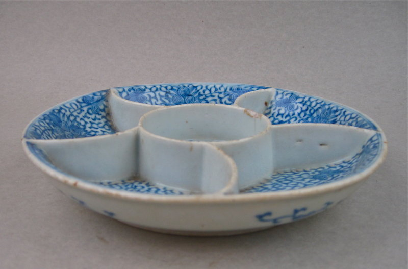 A Qing Dynasty Early 19th Cent B/W Compartment Dish
