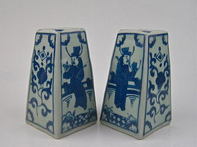 A Pair Of Ming B/W Candle Stick With Official Figures