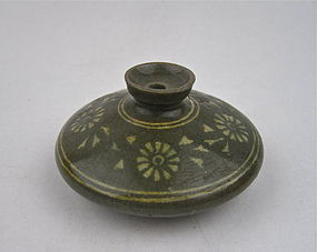 A Rare Koryo Celadon White Inlaid Oil-Jar