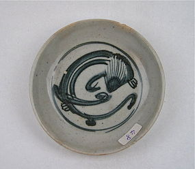 A Blue & White Saucer Dish With Qilong