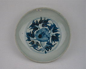 A Ming Dynasty Blue & White Dish With Flower Design