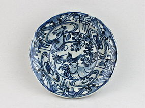 A LATE MING 17TH CENTURY KRAAK TYPE B/W BOWL