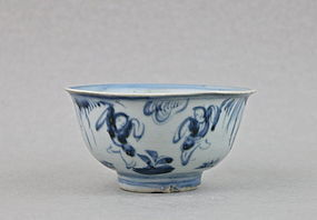 A MING DYNASTY B/W TEA-BOWL WITH CHILDREN PLAYING