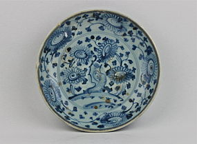 A MINGYAO B/W DISH WITH CHRYSANTHEMUM
