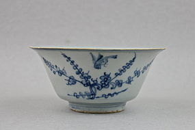 A MING B/W CONICAL SHAPED BOWL WITH BIRD ON THE TREE