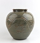 RARE SONG DYNASTY YUEYAO CELADON JAR WITH INCISED LOTUS PATTERN