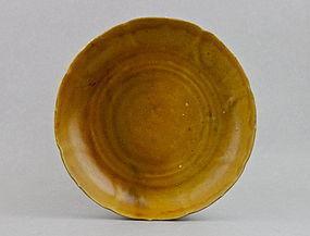 A YELLOW GLAZE KANGXI PERIOD DISH WITH FRUIT MARK (RESTORED)
