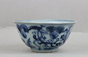 AN EARLY MING BLUE & WHITE BOWL WITH THREE FRIENDS OF WINTER