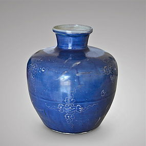 A RARE LATE MING DYNASTY WHITE SLIP ON COBALT-BLUE GROUND VASE