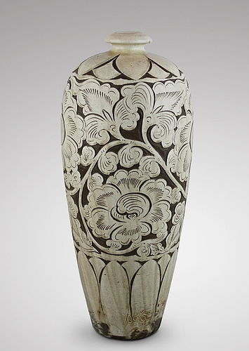 A NICE SHAPE OF SONG DYNASTY CIZHOU MEIPING WITH CARVED WHITE PEONY