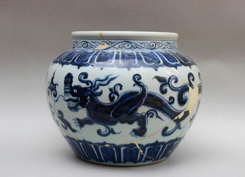 A RARE EXAMPLE OF MING XUANDE BLUE & WHITE GUAN JAR