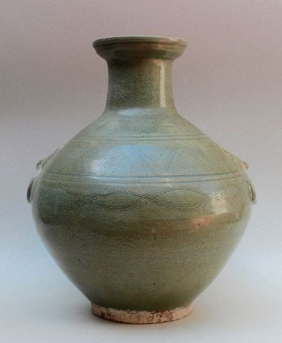 MAGNIFICENT & ARCHAISTIC YUE WARE BALUSTER VASE WITH LION MASK