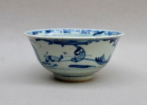 A MING DYNASTY 15th CENTURY BLUE AND WHITE BOWL