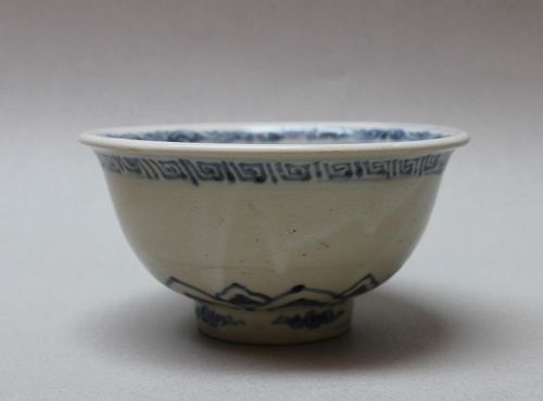ANNAMESE LARGE BLUE AND WHITE BOWL WITH LOTUS