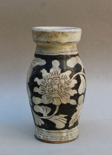 A SONG DYNASTY CIZHOU WARE WITH WHITE ON BLACK VASE