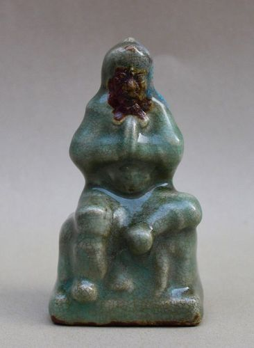 SONG/YUAN JUN WARE FIGURINE OF A WISE MAN IN MEDITATION