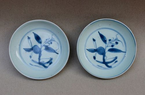 A PAIR OF LATE MING BLUE AND WHITE SAUCER DISH