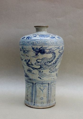 A RARE BLUE AND WHITE MEIPING WITH DRAGON CHASING PEARL