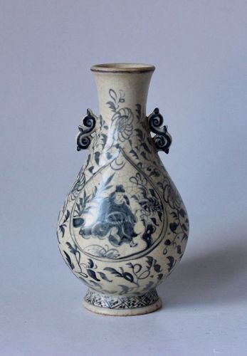 A RARE BLUE AND WHITE PEAR SHAPE VASE.YUAN DYNASTY 13th-14th CENTURY