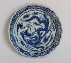 AN EXAMPLE OF BLUE AND WHITE PLATE WITH DRAGON (YUAN-MING)