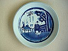 A Nice Blue & White Dish With Figure of The Scholar