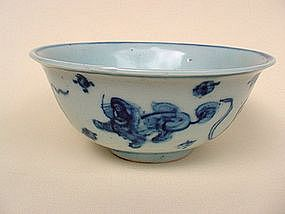 A Good Blue & White Bowl With Lion Foo Dogs