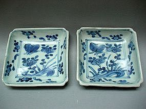 A Pair Of Blue & White Square Small Dishes