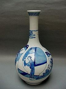 An Elegant Shape Of  B/W  Kangxi Style Bottle Vase